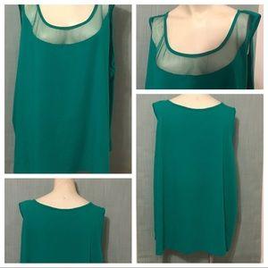Avon Summer Shamrock Green Mesh Tank Top Size 3X